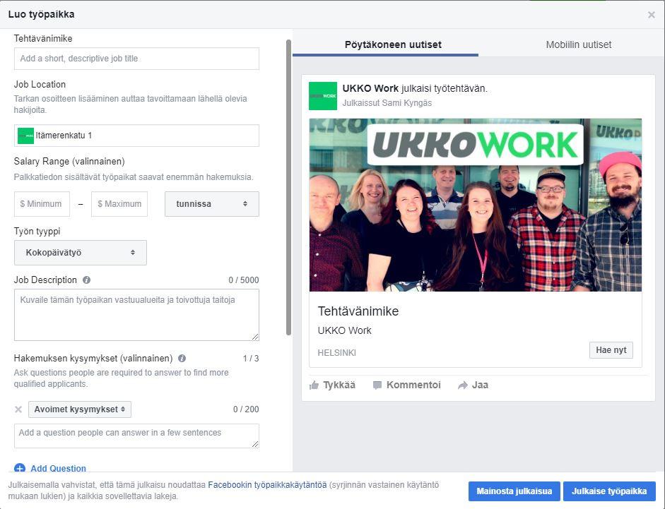 Facebook Työpaikan Tekeminen