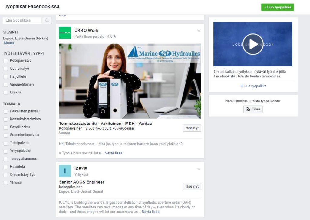 Facebook työpaikat yleisnäkymä