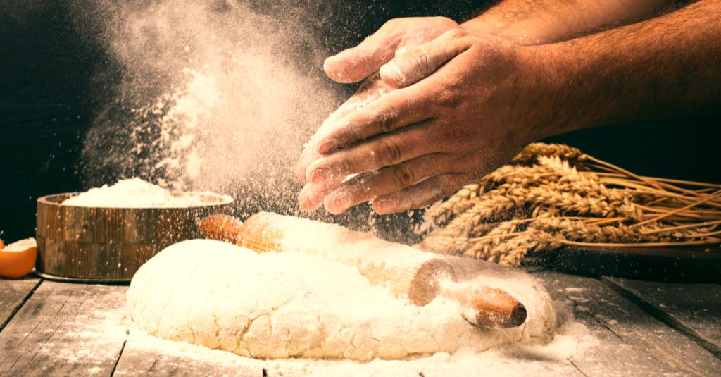 Leivän leipomista
