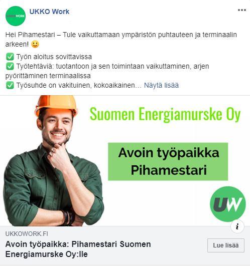 Pihamestari Suomen Energiamurske Oy Facebook Mainos Ukko Work