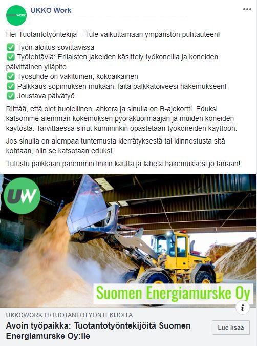 Tuotantotyöntekijä Suomen Energiamurske Oy Facebook Mainos Ukko Work